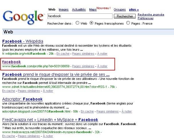 Ici : http://www.google.fr/search?hl=fr&;q=facebook&;meta=lr%3dlangfr